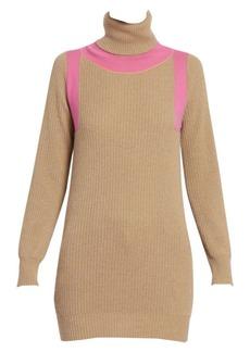 Victoria Beckham Contrast Panel Ribbed Cashmere Turtleneck Sweater