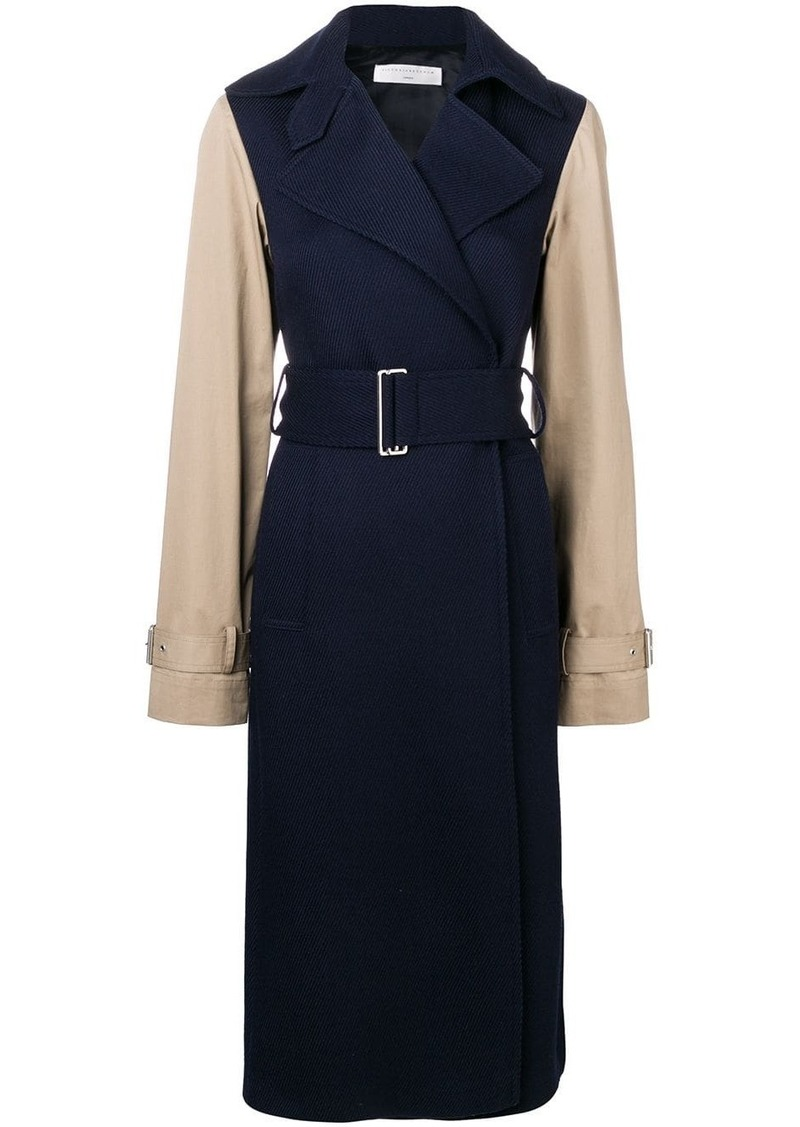 Victoria Beckham contrast sleeve fitted coat