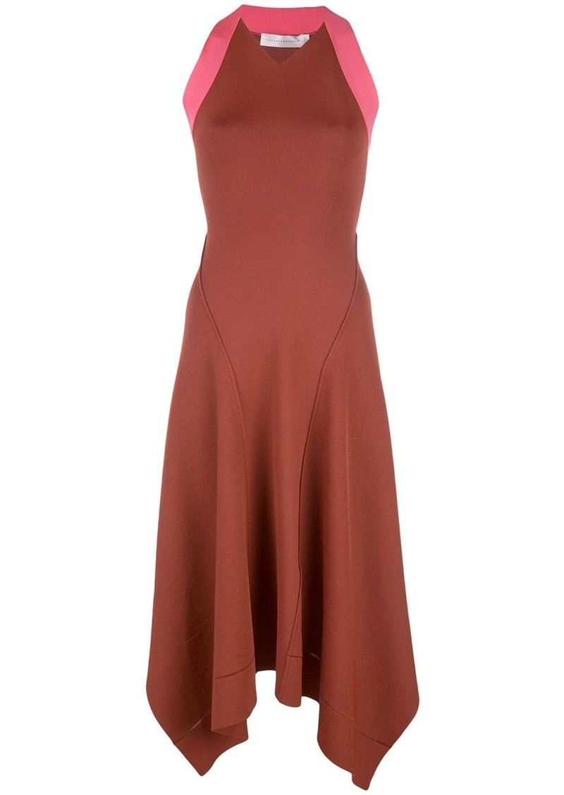 Victoria Beckham contrasting panel midi dress