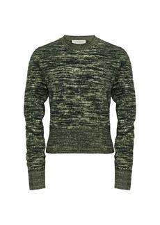 Victoria Beckham Cropped Marled Crewneck Sweater