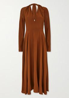 Victoria Beckham Cutout Gathered Silk Midi Dress