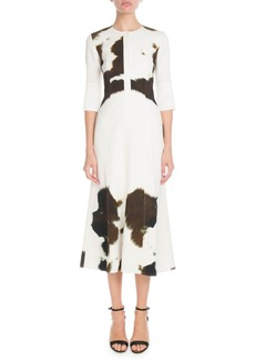 Victoria Beckham Elbow-Sleeve Round-Neck Fit-and-Flare Cow-Print Midi Dress