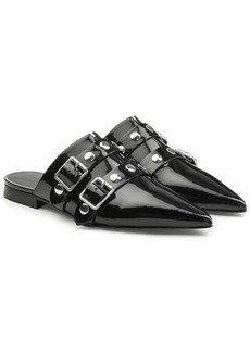 Victoria Beckham Embellished Patent Leather Mules