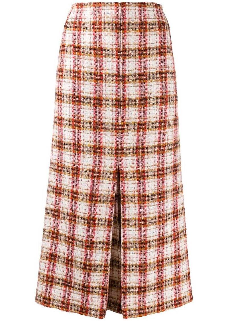 Victoria Beckham fitted tweed midi skirt