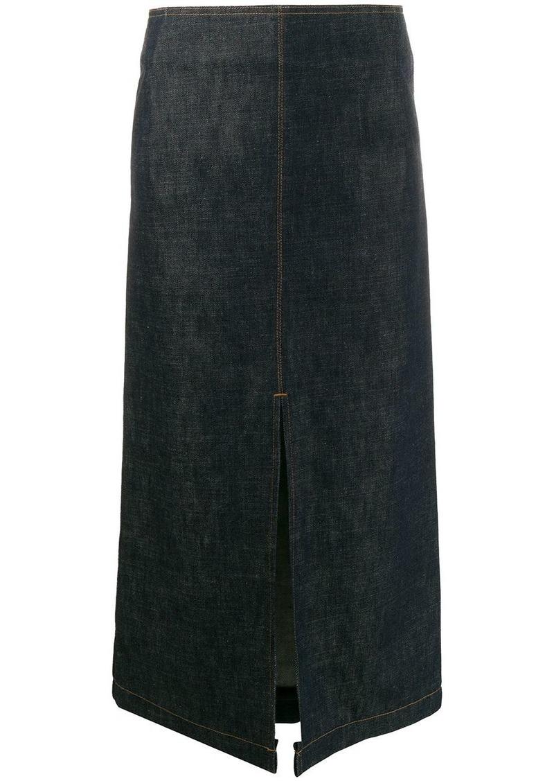 Victoria Beckham front slit denim skirt