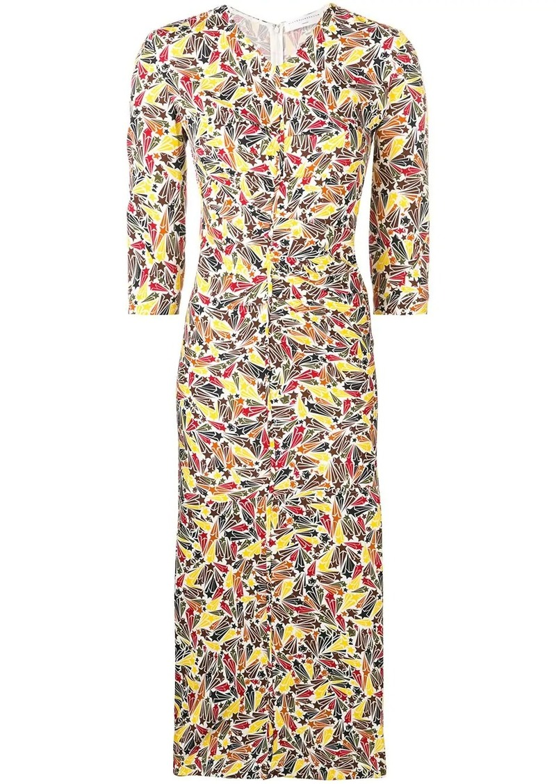 Victoria Beckham gathered star-print dress
