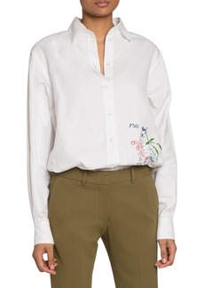 Victoria Beckham Handwriting-Embroidered Canvas Button-Front Shirt