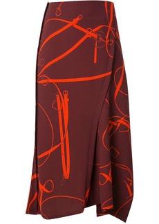 Victoria Beckham horse bit print asymmetric skirt
