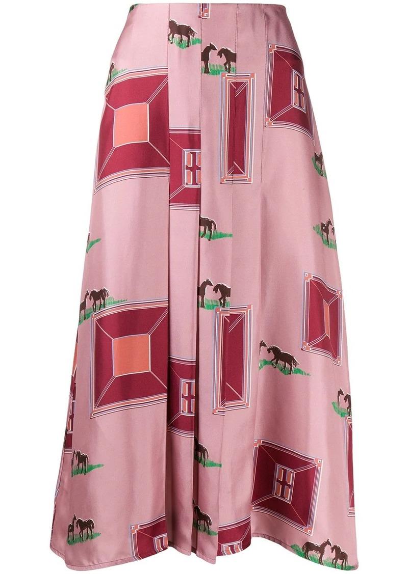 Victoria Beckham horses print pleated silk skirt