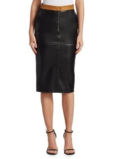 Victoria Beckham Leather Contrast Pencil Skirt
