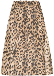 Victoria Beckham leopard print high-waist skirt