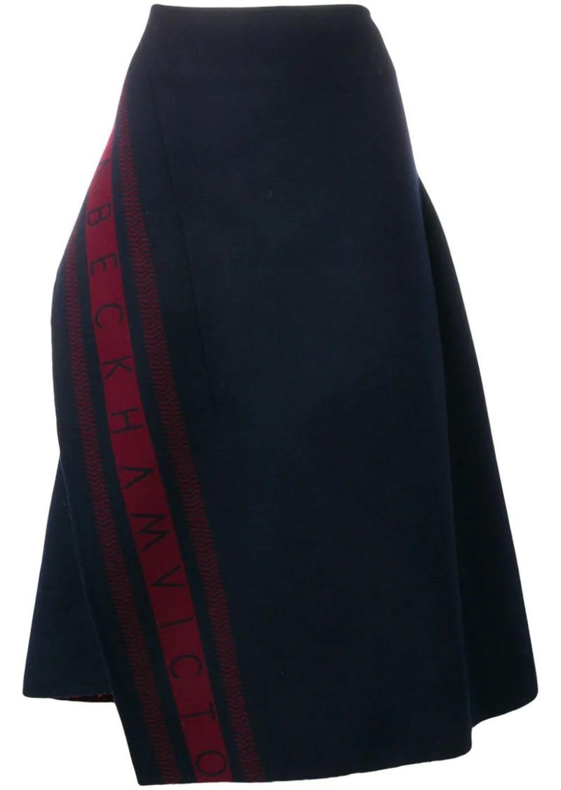 Victoria Beckham logo asymmetric skirt