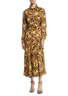 Victoria Beckham Long-Sleeve Button-Front Pleated-Skirt Leopard-Print Midi Dress