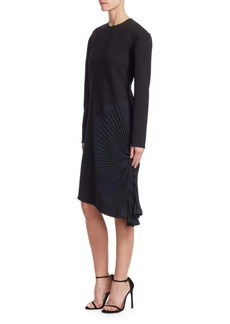 Victoria Beckham Long Sleeve Pleated Panel Dress