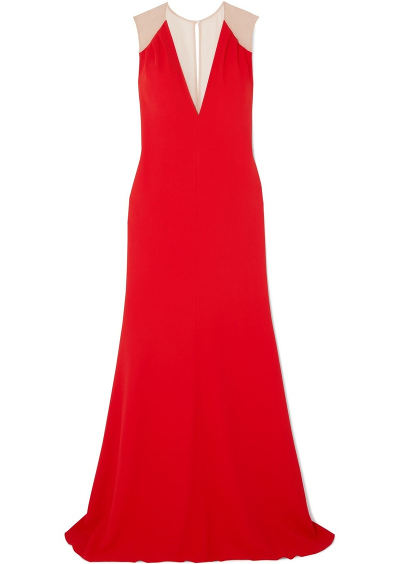 Victoria Beckham Mesh-paneled Cady Gown