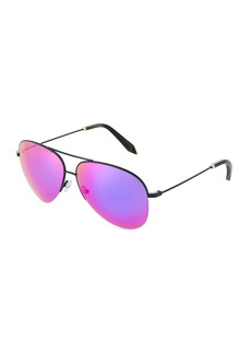 Victoria Beckham Metal Aviator Sunglasses with Mirror Lenses