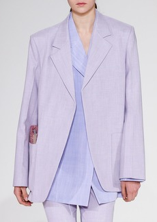 Victoria Beckham Notched-Lapels Open-Front Menswear-Inspired Blazer