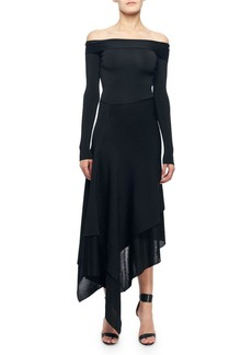 Victoria Beckham Off-The-Shoulder Asymmetric Cocktail Dress