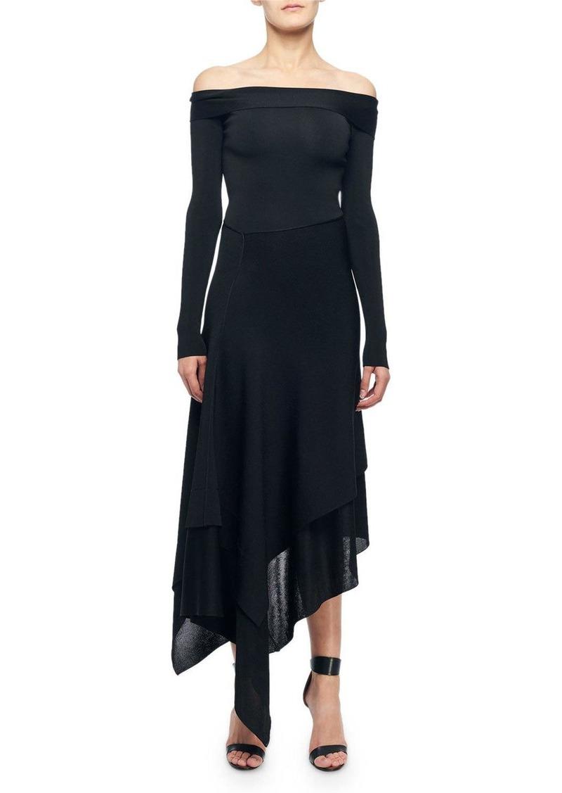Victoria Beckham Off-The-Shoulder Asymmetric Cocktail Dress