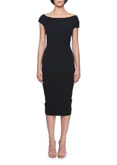Victoria Beckham Off-the-Shoulder Knee-Length Jersey Sheath Dress