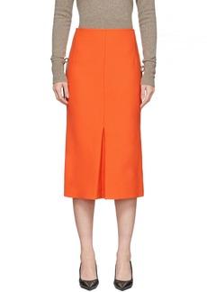 Victoria Beckham Orange Box-Pleat Midi Skirt