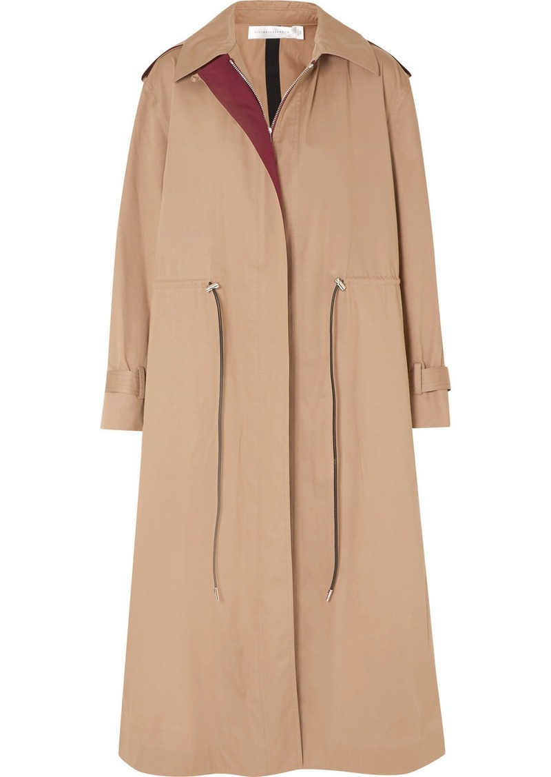 Victoria Beckham Oversized Drawstring Cotton-blend Gabardine Trench Coat