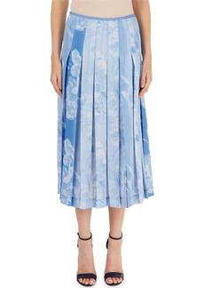 Victoria Beckham Pleated Cloud-Print Skirt