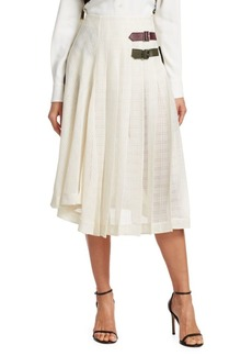 Victoria Beckham Pleated Open Weave Skirt