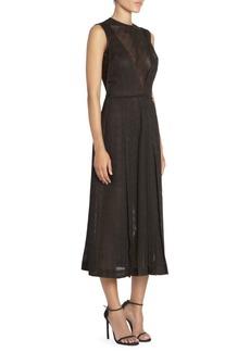 Victoria Beckham Pleated Windowpane Midi Dress
