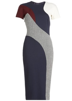 Victoria Beckham Printed Dress with Wool