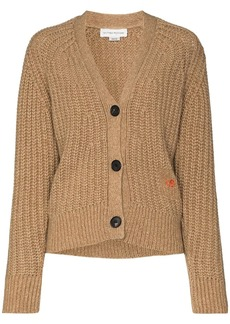 Victoria Beckham logo-embroidered ribbed-knit cardigan