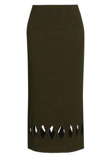 Victoria Beckham Ribbed Wool-Blend Diamond Cutout Pencil Skirt