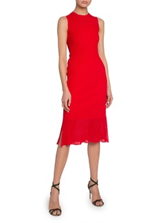 Victoria Beckham Sheer Hem Sleeveless Bodycon Dress