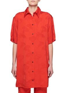 Victoria Beckham Short-Sleeve Button-Front Floral-Jacquard Shirt