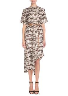 Victoria Beckham Short-Sleeve Camo-Print Shift Midi Dress w/ Leather Belt