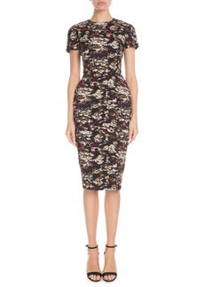 Victoria Beckham Short-Sleeve Crewneck Fitted Printed Dress