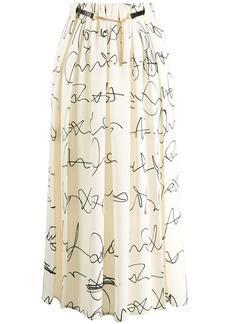 Victoria Beckham signature print belted midi skirt