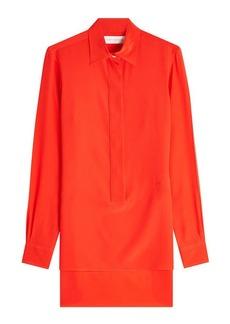 Victoria Beckham Silk Chiffon Shirt with High-Low Hem