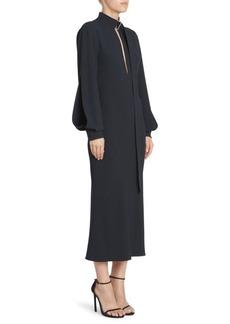 Victoria Beckham Slash Front Buckle Neck Midi Dress
