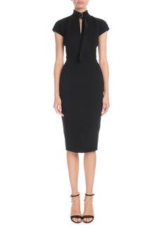 Victoria Beckham Slash-Front Cap-Sleeve Fitted Midi Crepe Dress