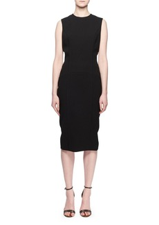 Victoria Beckham Sleeveless Crewneck Fitted Crepe Dress
