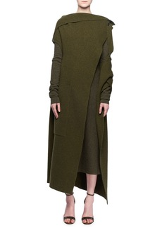 Victoria Beckham Sleeveless Multilayer Wrap Cashmere-Blend Cocoon