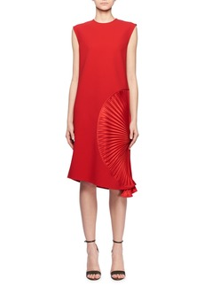 Victoria Beckham Sleeveless Pleated Side A-Line Crepe Cocktail Dress