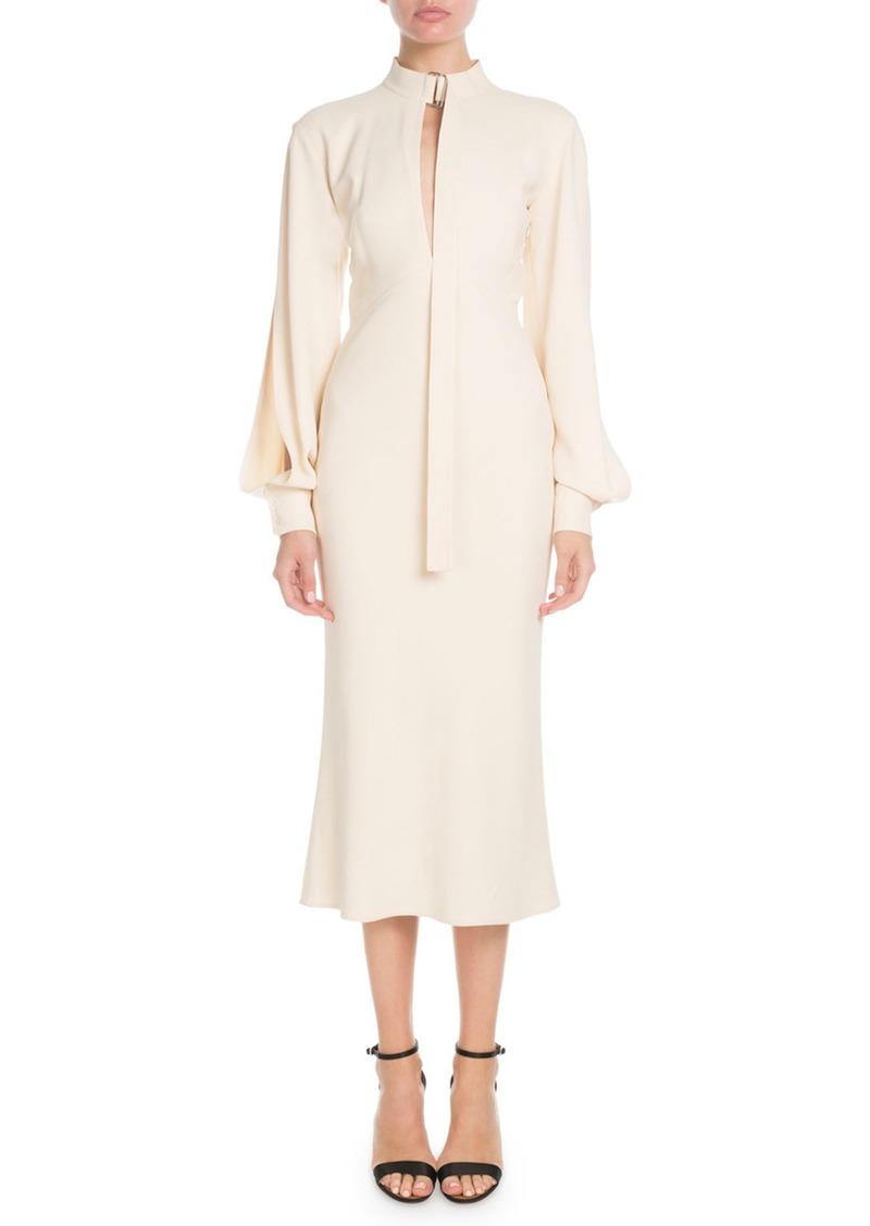 Victoria Beckham Slit-Neck Blouson-Sleeve Fluted-Bottom Calf-Length Dress