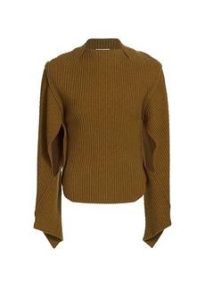 Victoria Beckham Slit-Sleeve Wool-Blend Sweater
