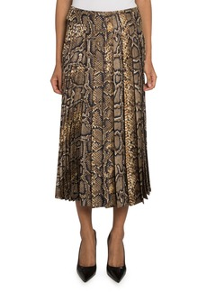 Victoria Beckham Snake-Print Pleated-Silk Skirt