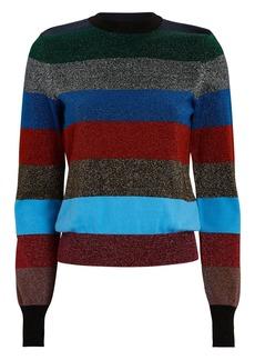 Victoria Beckham Striped Lurex Crewneck Sweater