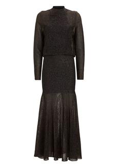 Victoria Beckham Striped Lurex Knit Maxi Dress