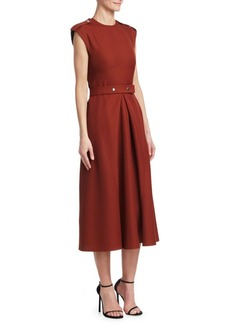 Victoria Beckham Technical Belted A-Line Midi Dress