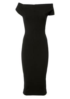 Victoria Beckham Twist Shoulder Fitted Midi Dress